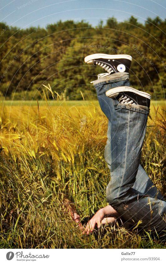 Sternschnuppe Mensch Sommer Freude Erholung Gefühle Gras Schuhe Feld lustig frei hoch Stern (Symbol) fallen tauchen Korn Chucks