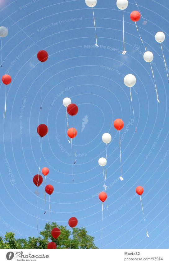rot-weiße Luftikus Luftballon mehrfarbig rund leicht Himmel Freude fliegen Ball