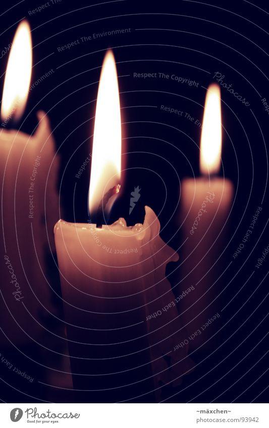 Candlelight gelb dunkel Wärme hell orange Brand 3 Feuer Kerze Physik Spitze Festessen Flamme Tiefenschärfe Sepia Glut