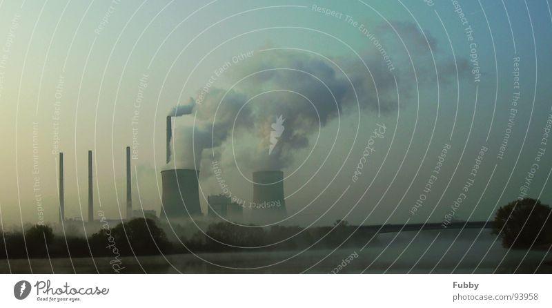 Global Warming 2 Klimawandel Kernkraftwerk Kohlekraftwerk Main global Industrie Stromkraftwerke Fluss Brücke Rauch Schornstein Himmel 2. Wasser