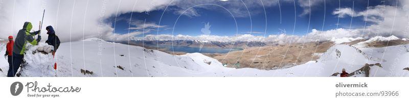 winter im sommer Himmel blau Wolken Schnee Stimmung groß Niveau Aussicht Gipfel Indien Panorama (Bildformat) Bergsteiger