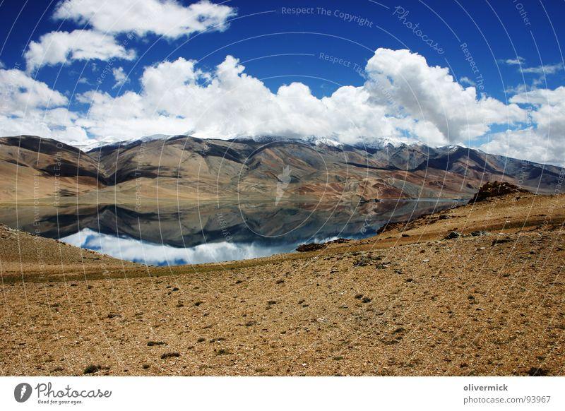 spiegelung See Wolken Spiegelbild weiß Gipfel Indien Berge u. Gebirge Himmel blau
