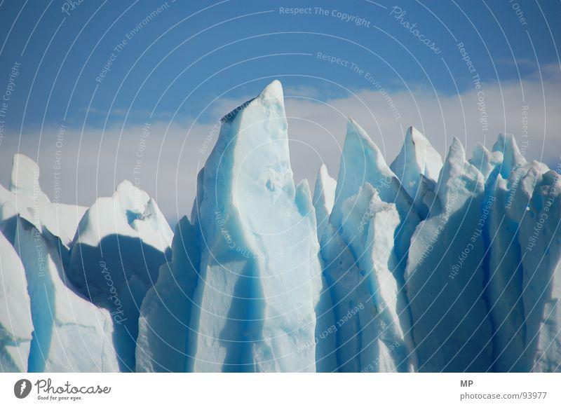 Blue Ice I Natur schön Himmel blau Wolken Einsamkeit kalt Berge u. Gebirge Eis Coolness Gebiss Klima Spitze Teile u. Stücke Wildtier gefroren