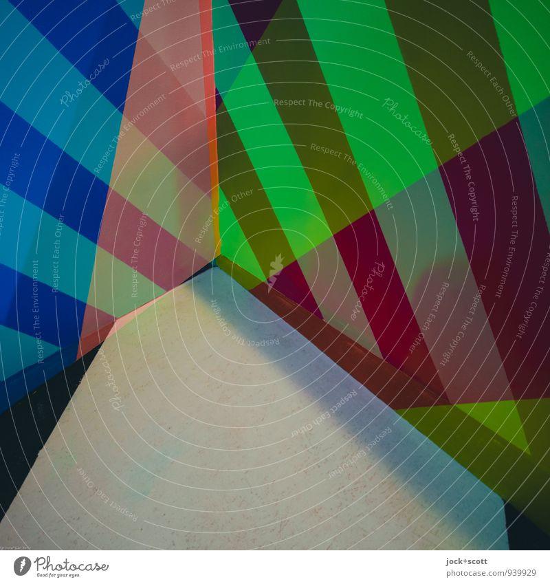 bunte Ecke Stil Design Grafik u. Illustration Dekoration & Verzierung Streifen Netzwerk Geometrie eckig trendy modern stark unten grün Leidenschaft gewissenhaft