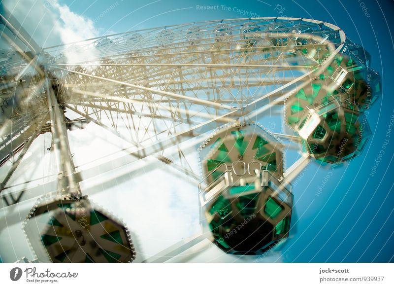 doppelte Pirouette Sommer Wolken Freude Wärme Zeit Perspektive Fröhlichkeit Geschwindigkeit Ausflug rund Leidenschaft Jahrmarkt Dynamik drehen Leichtigkeit