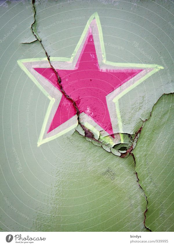 Dem Stern ist es Schnuppe Stern (Symbol) Rost Zeichen leuchten authentisch einzigartig grün rosa Kreativität Wandel & Veränderung Riss Dekoration & Verzierung