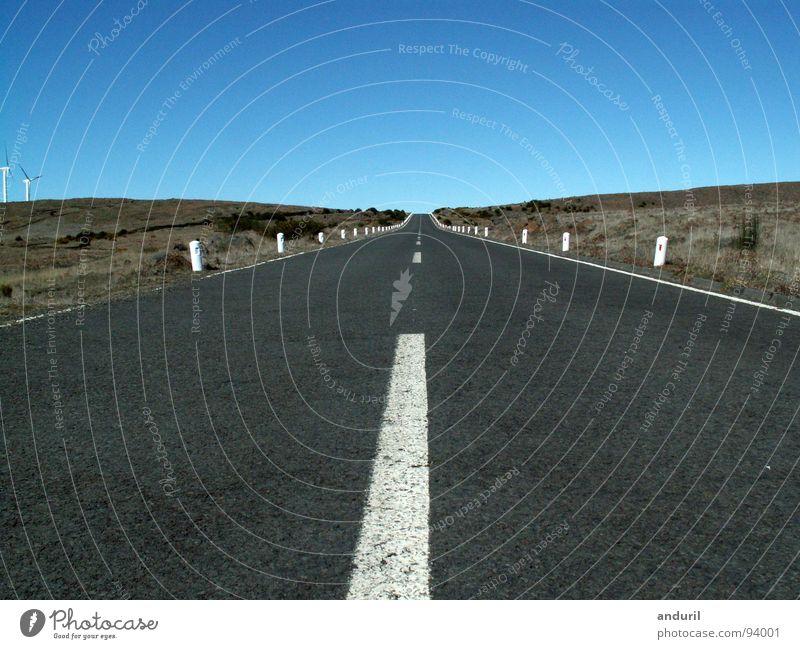 Bis zum Horizont schön Himmel Einsamkeit Straße Lampe Freiheit Wege & Pfade Ziel Unendlichkeit