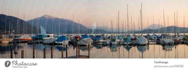 Zugersee See Segelschiff Rigi Schweiz Steg Abenddämmerung Romantik Feierabend Sonntag Motorboot Hafen Berge u. Gebirge Innerschweiz Zuger Hafen blau