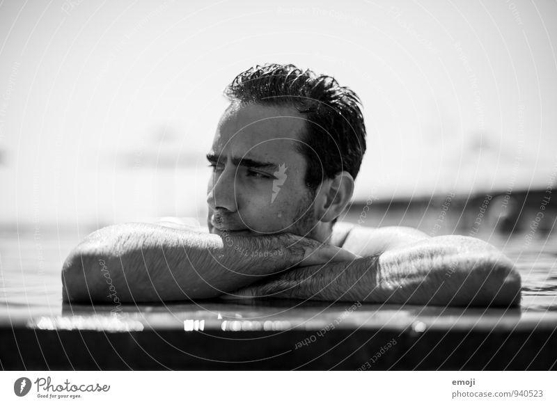 pool boy maskulin Junger Mann Jugendliche 1 Mensch 18-30 Jahre Erwachsene kurzhaarig Dreitagebart Behaarung schön Schwimmbad Schwimmen & Baden Wasser nass