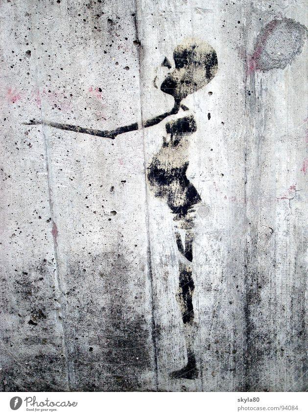 Lebenszeichen Skelett Beton Afrika Dritte Welt Straßenkunst Graffiti Wandmalereien Appetit & Hunger Schmerz Schwarzweißfoto Armut erschütternd skeptisch Qual