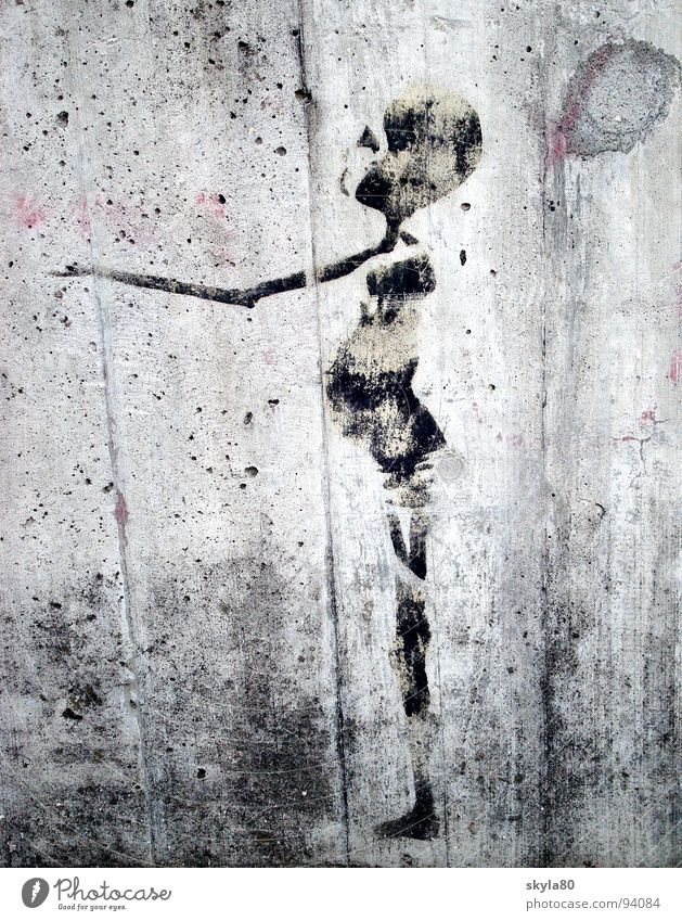 Lebenszeichen Wand Mauer dünn Skelett Beton Fassade dreckig betteln Afrika Dritte Welt Tagger Schablone Straßenkunst Graffiti Wandmalereien Appetit & Hunger