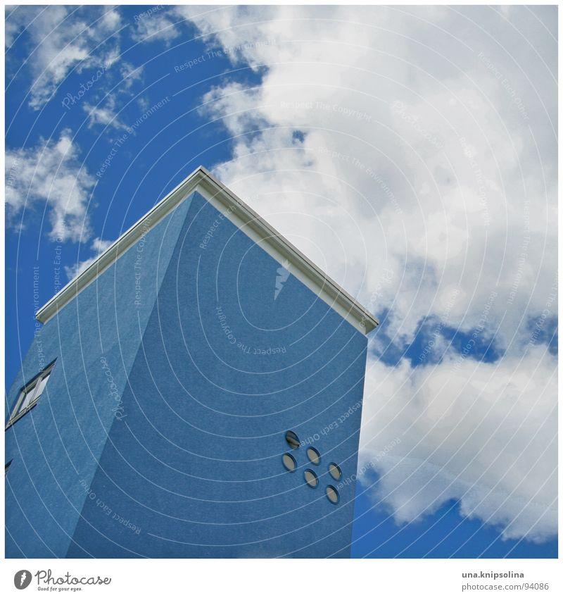 blue Studium Himmel Wolken Turm Architektur Fenster modern rund blau Ton-in-Ton Putz Berlin Farbfoto Außenaufnahme Detailaufnahme
