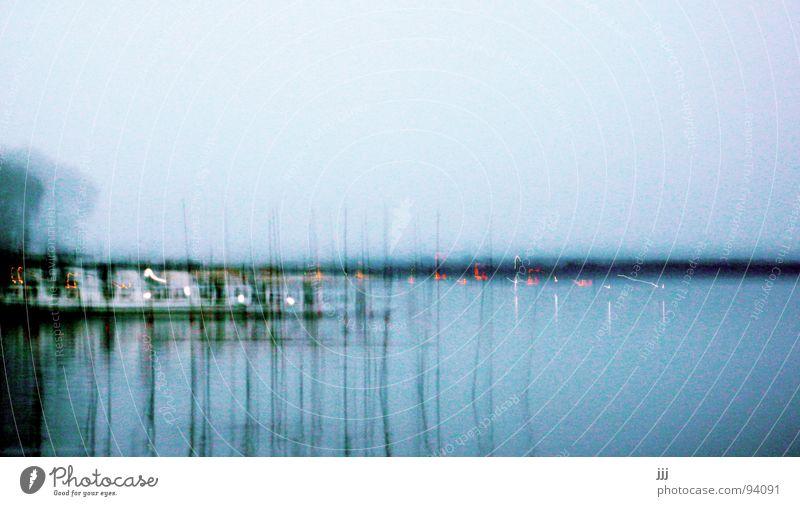 neulich am müggelsee Wasser blau See Linie Küste Stock Stechmücke Boje Gute Nacht