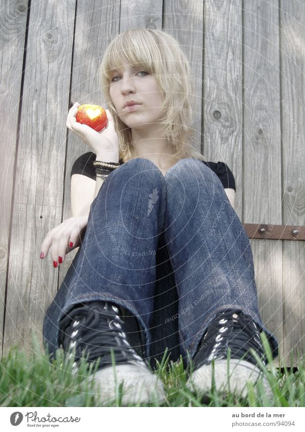 Kopf oder Herz? Chucks Schuhe Sommer Trauer ungewiss geheimnisvoll Wiese Zaun grau Apfel Garten Traurigkeit Vergangenheit Charakter Angst