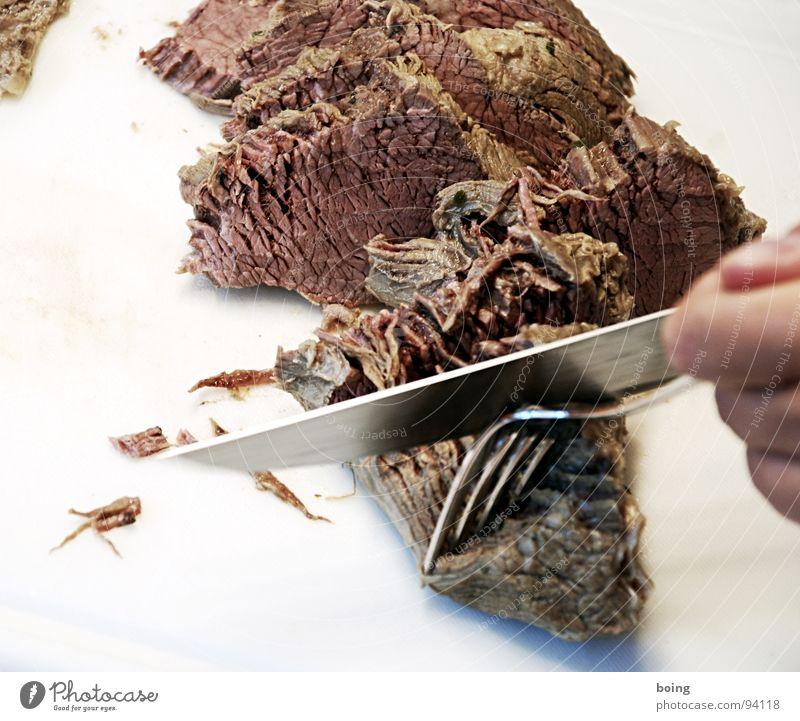 Scissora sagt, Fleisch hätte keine Poren. Essen Feste & Feiern rosa Kochen & Garen & Backen Küche lecker Gastronomie zart Wohlgefühl dünn Teilung Messer