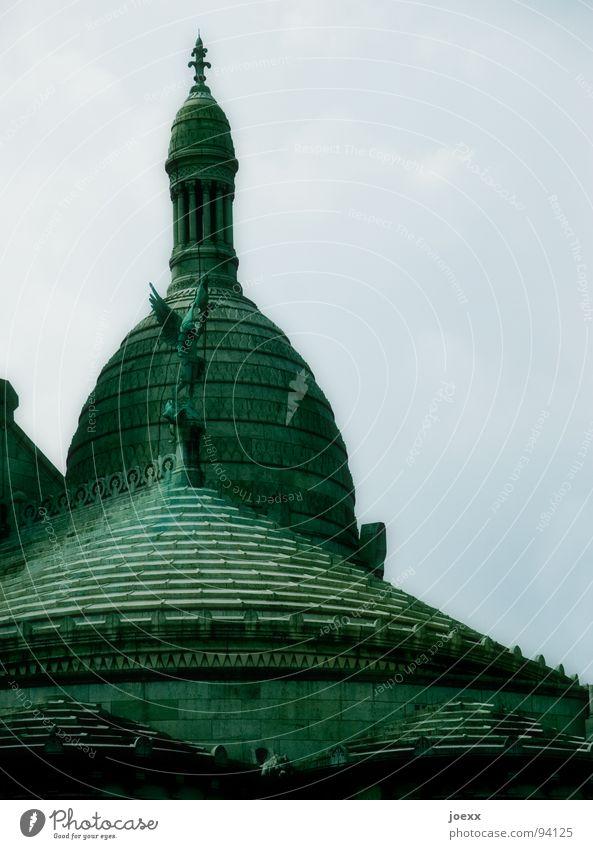 Basilique Himmel blau grün Wolken Religion & Glaube Rücken Flügel Engel Dach Paris historisch Statue Frankreich Hauptstadt Kuppeldach Katholizismus