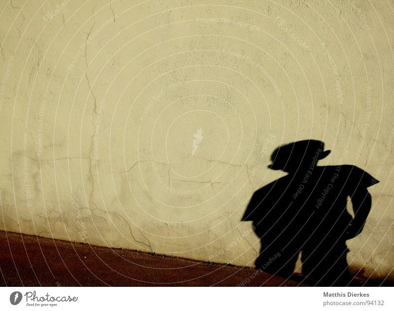 SCHATTENWELT Wand Spielen Schattenspiel Kind schwarz rechts gestellt Knie diagonal Geometrie blind Gleichgültigkeit unsicher Gefühle Schüchternheit Neugier