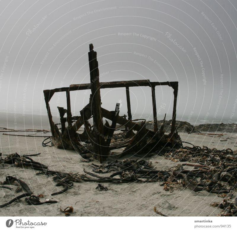 Tot Meer Strand Wolken dunkel Tod Traurigkeit Wasserfahrzeug Küste Nebel Trauer verfaulen Vergänglichkeit Verzweiflung untergehen Skelett schlechtes Wetter