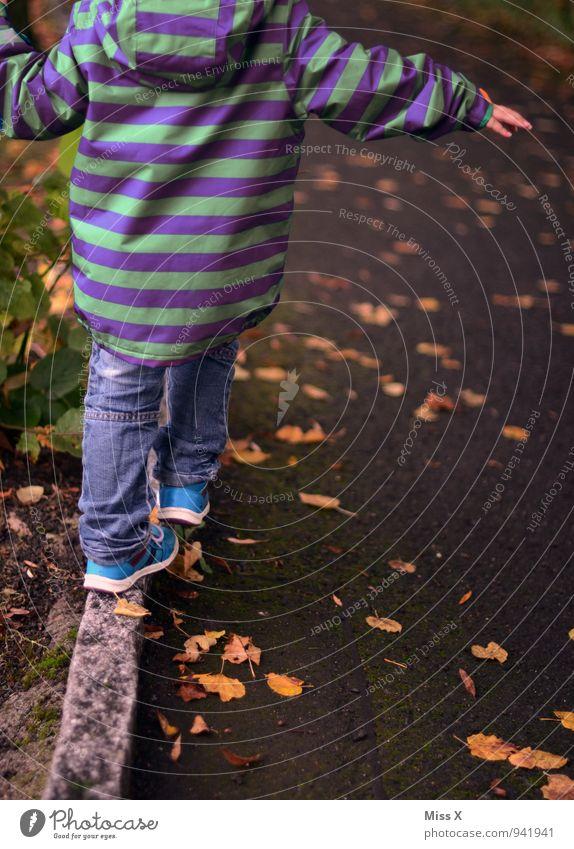Balance Mensch Kind Herbst Wege & Pfade Spielen Linie Park Freizeit & Hobby Zufriedenheit Kindheit Fröhlichkeit Lebensfreude Fußweg Bürgersteig Konzentration