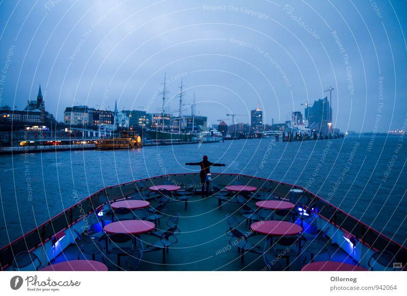 Hamtanic Verkehrsmittel Öffentlicher Personennahverkehr Schifffahrt Bootsfahrt Passagierschiff Fähre Hafen An Bord träumen blau Farbfoto Außenaufnahme