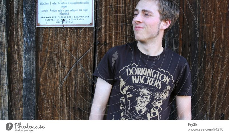 dude Mann Kerl Holz T-Shirt Typ Gesicht Arme Auge Schilder & Markierungen