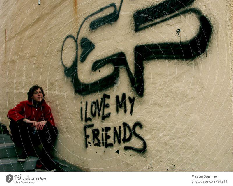 I Love My Friends Liebe Wand Mann Stadt herzlich Comic offen Vertrauen I love my friends Häuserwand Graffiti Mensch Blick Gefühle Herz Ehrlichkeit