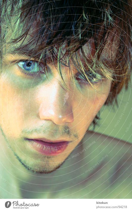 portrait nummer unendlich Porträt Mann Bart feuchtfröhlich nass grün Bad Lippen Jugendliche bärtig blau Auge Haare & Frisuren keine lust mehr