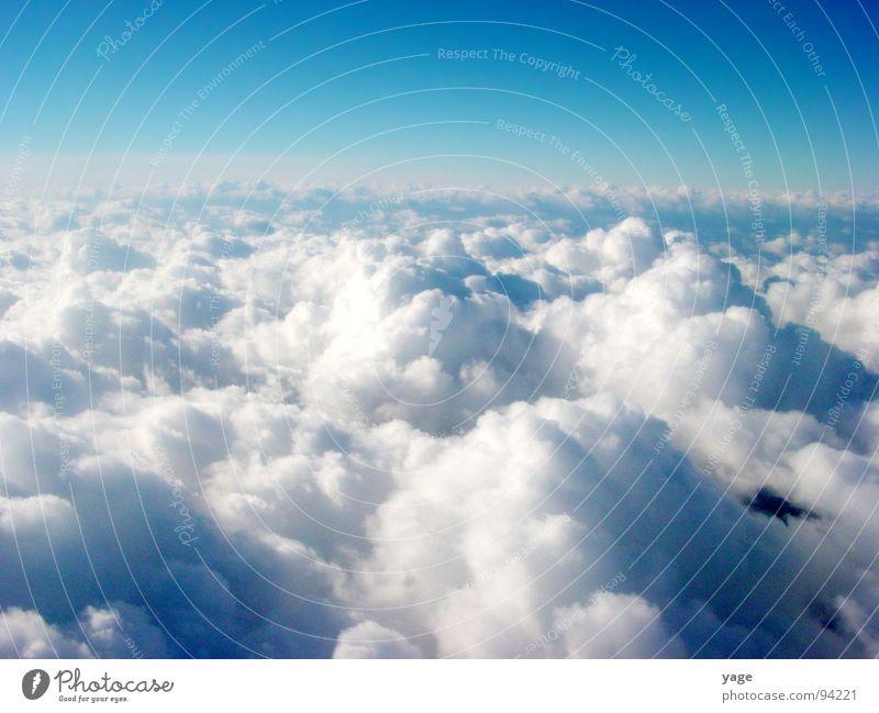 Über den Wolken Wolken Freiheit frei Horizont Luftverkehr Aussicht Unendlichkeit schlechtes Wetter über den Wolken