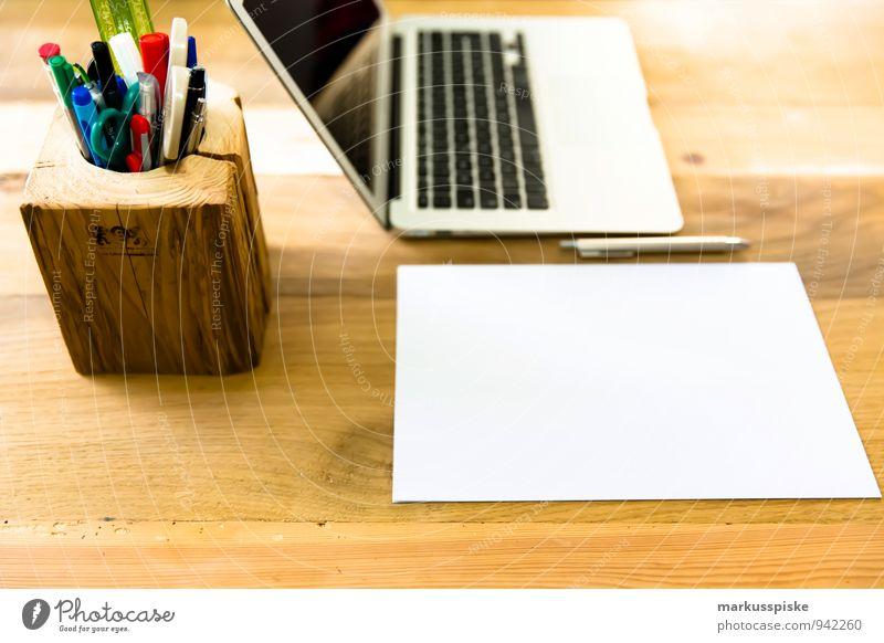 home office blanko papier Büro ästhetisch Computer Idee Papier retro trendy Schreibtisch Teamwork Notebook altehrwürdig Zettel nerdig Designer