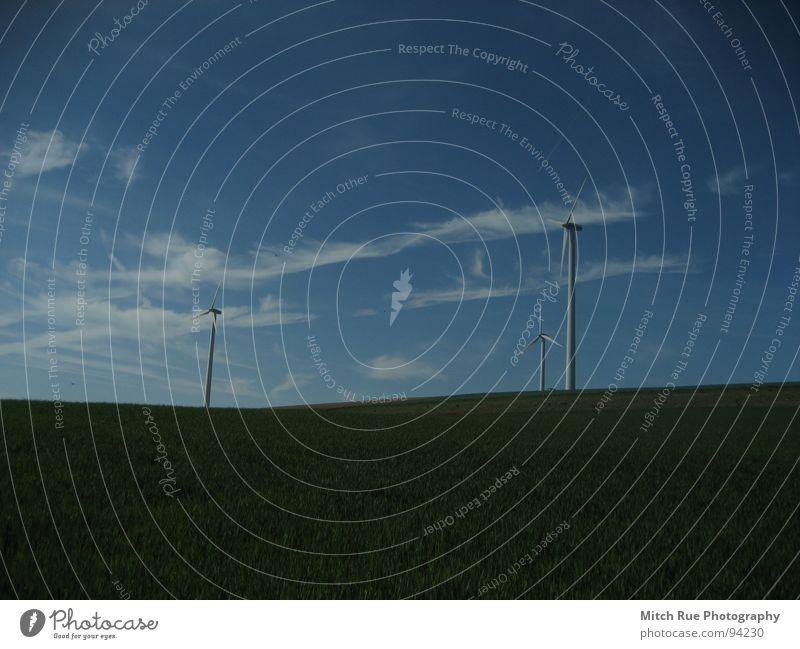 still turning around! blau grün Wolken Wiese Wind Windkraftanlage Erneuerbare Energie