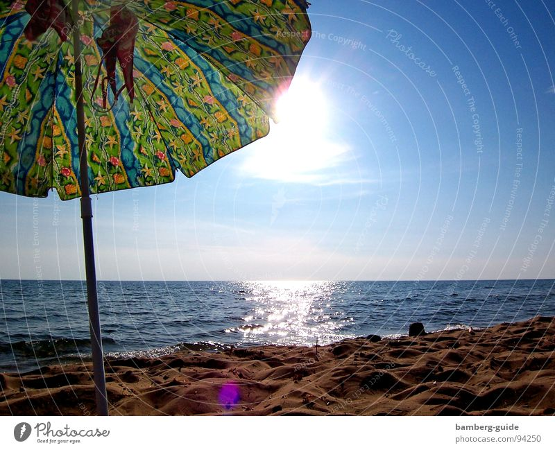 Am Strand von Korfu Sonne Meer Sommer Ferien & Urlaub & Reisen Sand Küste Sehnsucht Bikini Sonnenschirm Griechenland Wetterschutz
