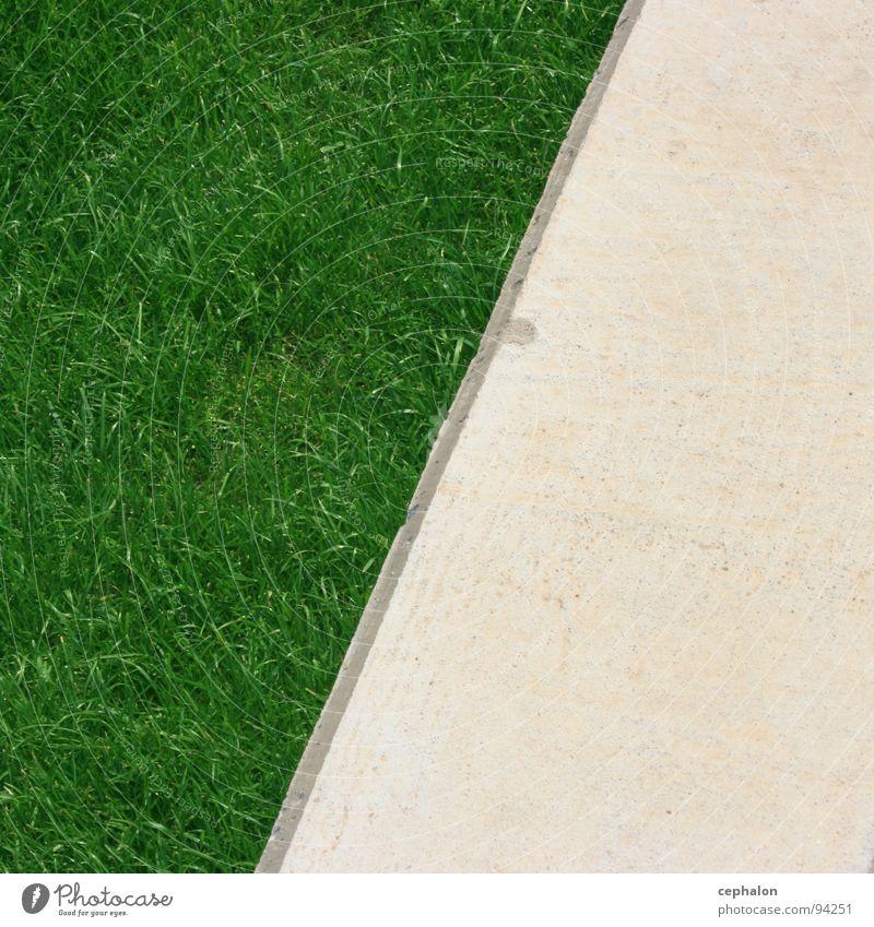 Rasenkante weiß grün Gras Frühling Garten Stein Wege & Pfade Park Ecke Rasen weich Grenze beige hart