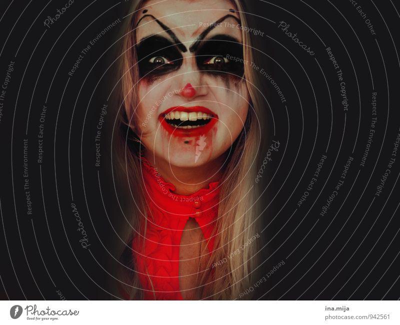 njahahahaaaa Feste & Feiern Karneval Halloween Mensch feminin Gesicht 1 Wut rot schwarz Gefühle Stimmung Aggression bizarr skurril Monster gruselig Unglaube