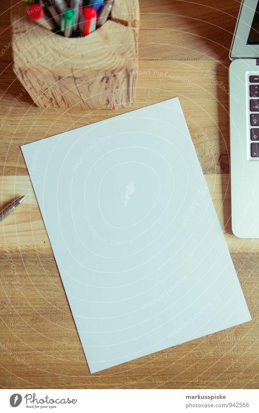 home office blanko papier Büro Computer Papier retro trendy Schreibtisch Notebook altehrwürdig Designer Grafiker