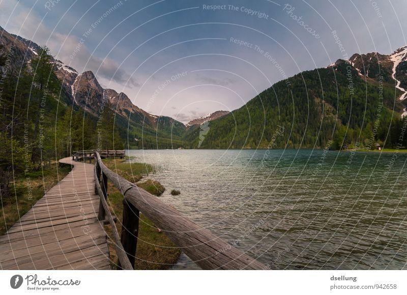 Lago di Anterselva Umwelt Natur Landschaft Wasser Himmel Frühling Schönes Wetter Wald Alpen Berge u. Gebirge Seeufer blau braun grün violett orange Romantik