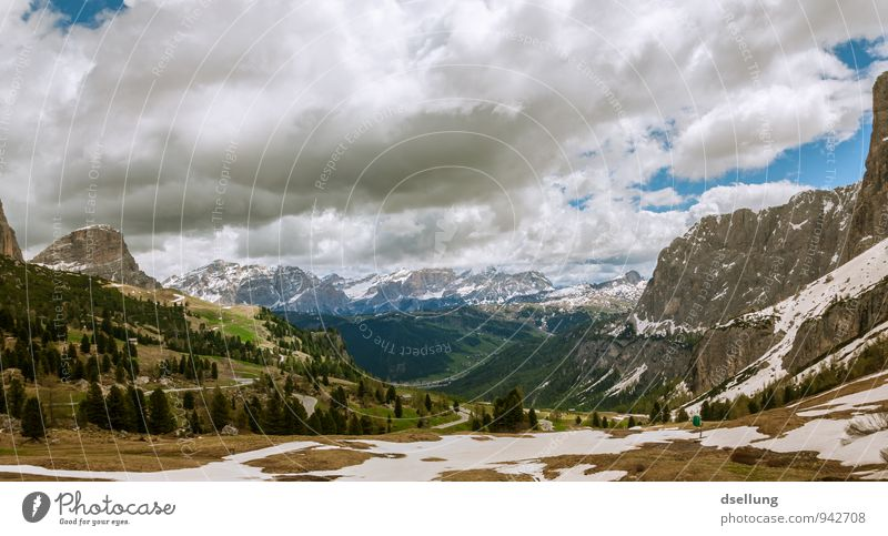 weißgefleckte Berglandschaft Umwelt Natur Landschaft Urelemente Himmel Wolken Frühling Sommer Schönes Wetter Wald Felsen Alpen Berge u. Gebirge Gipfel