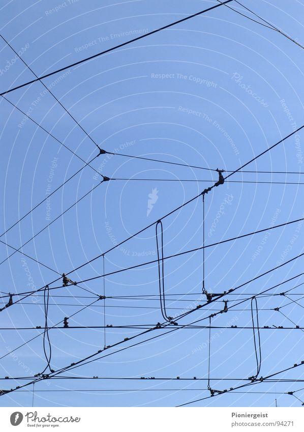 Das Netz 3.0 Seil Eisenbahn gefangen Draht Spinne durcheinander hilflos Oberleitung netzartig