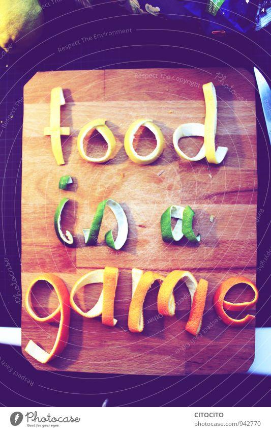 food is a game Sommer Erholung Freude Essen Gesundheit Frucht Dekoration & Verzierung Orange Schriftzeichen Ernährung Fitness Wellness entdecken Bioprodukte Bar