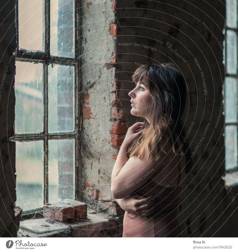 Na und IV Mensch Jugendliche schön Junge Frau 18-30 Jahre Erotik Fenster Erwachsene Wand Gefühle feminin Mauer Denken träumen stehen Hemd