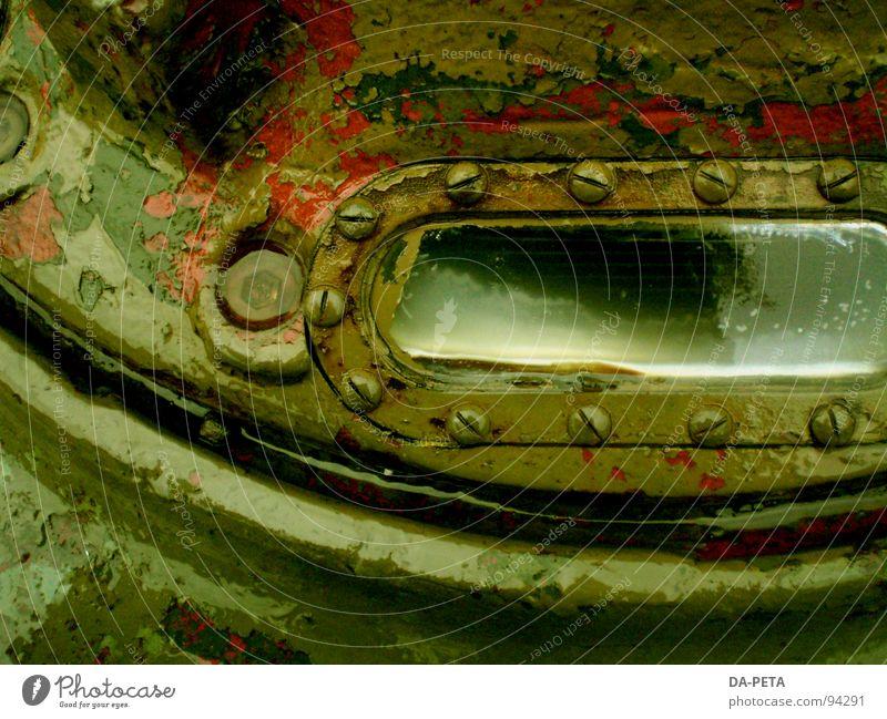 Guckloch alt grün Glas obskur Rost feucht Loch Schraube Lack gepanzert