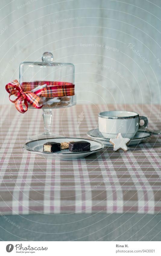 ZimtSternStunde Teigwaren Backwaren Geschirr Teller Schalen & Schüsseln Tasse lecker süß Foos Stillleben Weihnachten Weihnachten & Advent Tischwäsche kariert