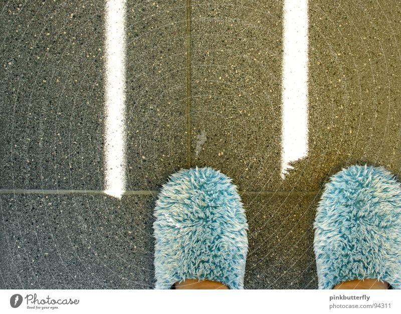 Pantoffeltierchen blau oben grau Fuß Wohnung Bekleidung trist stehen Bodenbelag Freizeit & Hobby Fell Fliesen u. Kacheln gemütlich Hausschuhe Plüsch Schlappen
