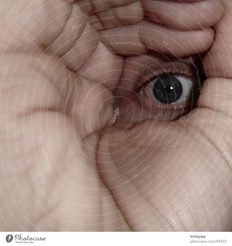 ichisichisichisich Hand Teleskop verschlafen Tunnel Tunnelblick Alkoholisiert zielen Visier Mensch nah Makroaufnahme blind Suche Finger Pupille Wimpern