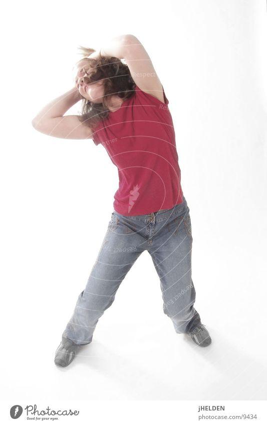h Ead Banger Mensch Frau Jugendliche blau weiß rot Freude Erwachsene Leben Freiheit Bewegung Haare & Frisuren springen Glück Musik Kraft