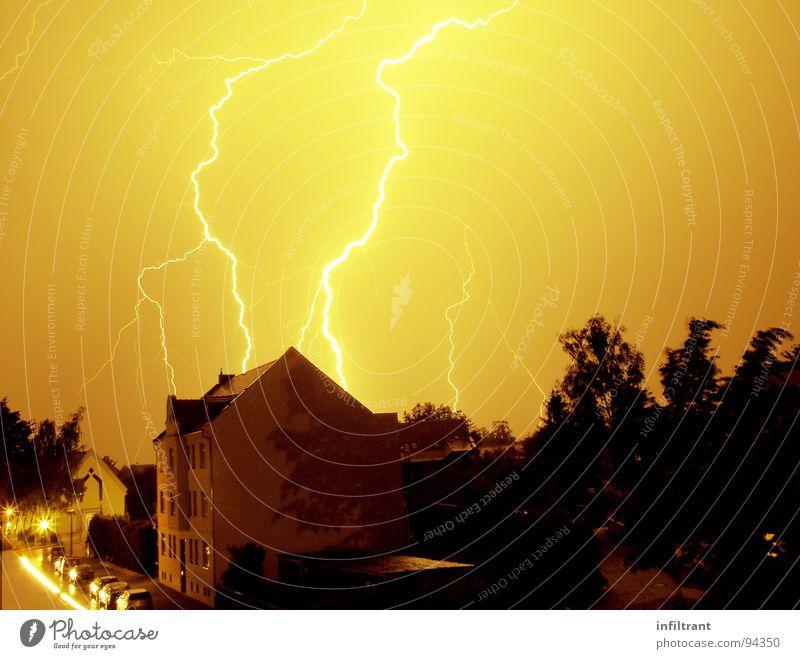 Potz Blitz Blitze Donnern Nacht Unwetter Sturm unheimlich bedrohlich grell Gewitter Wetter Himmel
