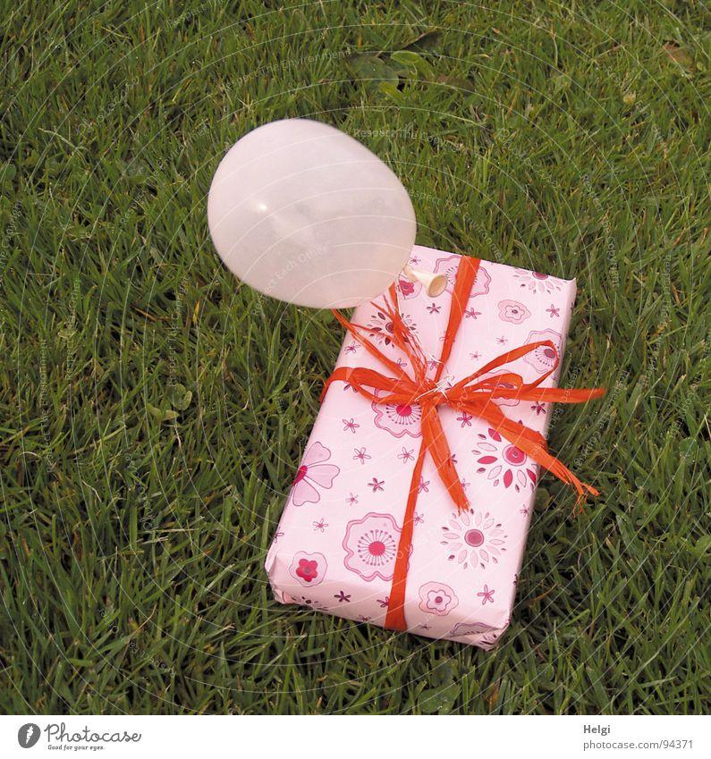 verpacktes Geschenk mit Luftballon auf einer Wiese liegend Farbfoto Außenaufnahme Menschenleer Design Freude Feste & Feiern Valentinstag Muttertag Geburtstag