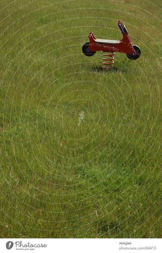 Rockerstuhl Freude Wiese Spielen Holz Bewegung Kindheit sitzen Platz frei Feder Rasen verfallen Spielzeug Neigung Sitzgelegenheit Motorrad