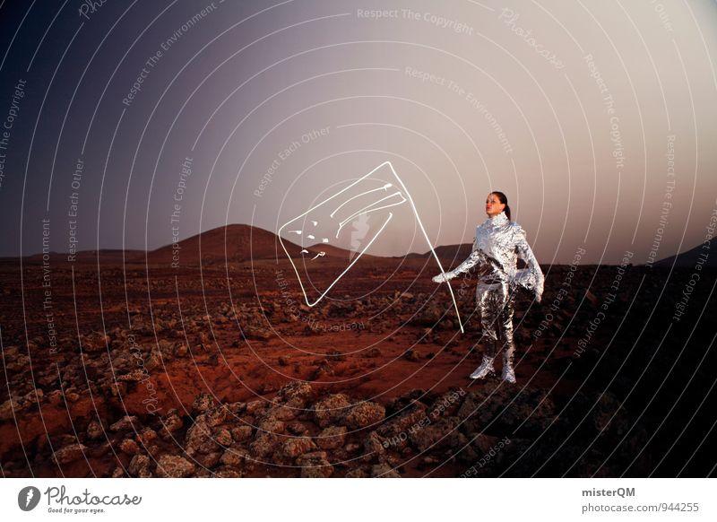 One Small Step. Kunst Kunstwerk ästhetisch Mond Mondschein Mondlandschaft Mars Marslandschaft Mondlandung Mondstein Astronaut Weltall Sputnik Raumanzug Fahne