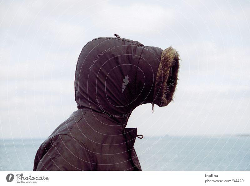 Rohrkopf Mensch Meer Strand Kopf Regen Küste Wind Jacke Röhren Ostsee