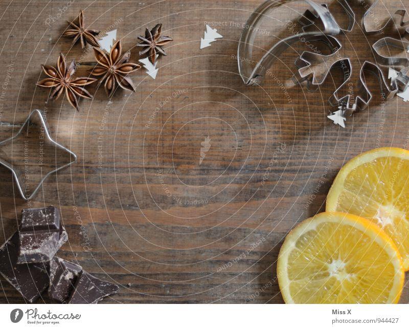 Weihnachtsrahmen Weihnachten & Advent Lebensmittel Frucht Dekoration & Verzierung Orange Ernährung süß Kochen & Garen & Backen Kräuter & Gewürze lecker Duft stagnierend Plätzchen Zutaten Weihnachtsgebäck Backform